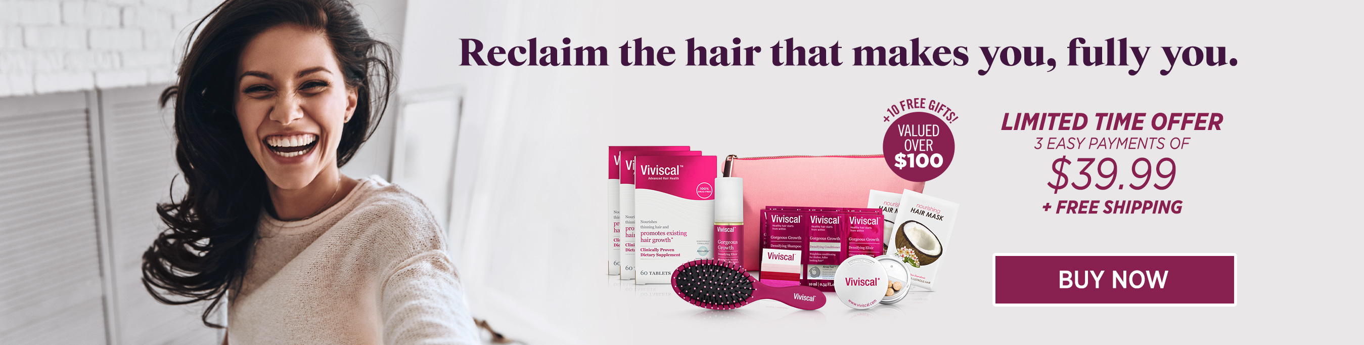 Molly Sims with Viviscal User Kit + 10 free gift kits, valued over $100 with 3 payments of $39.99 + free shipping